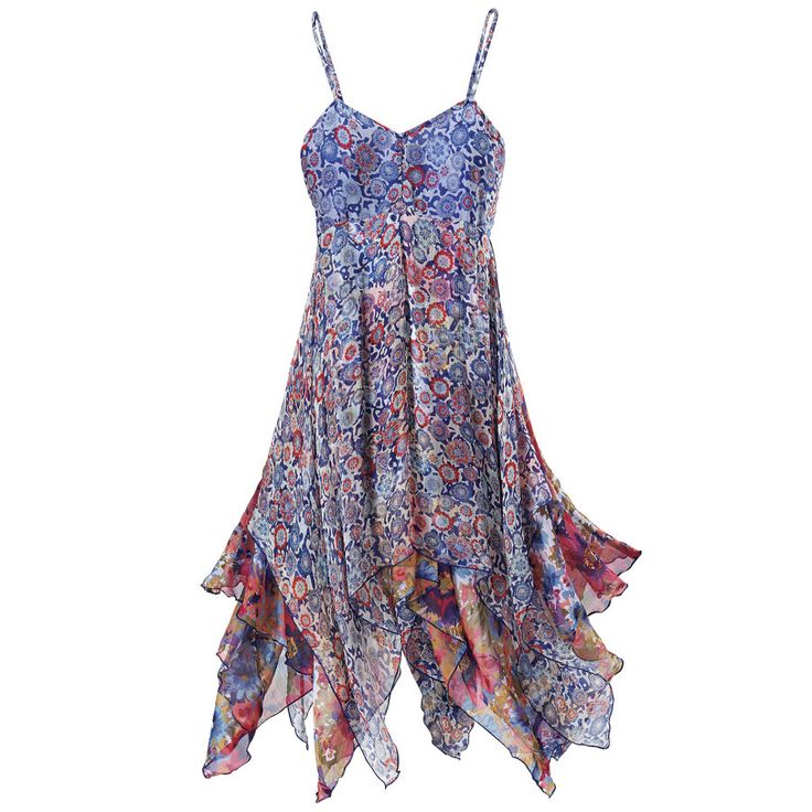 377ade3af4 love the colors in this dress and the hankerchief hemline..great summer  party dress