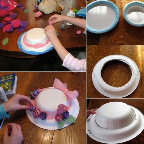Easter bonnet ideas con platos - Manualidades Infantiles
