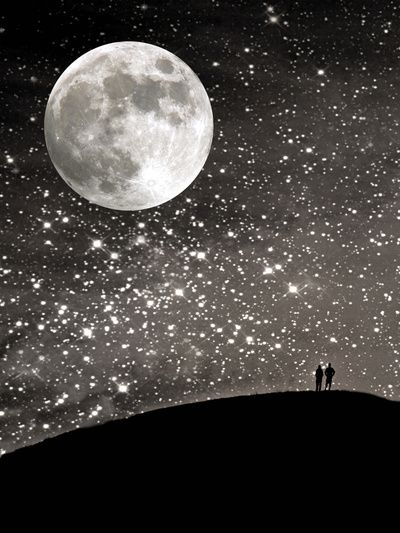 Night photo starry sky moon art quot silhouettes under the