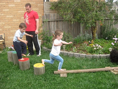 Obstacle course!: Balance Beam, Backyard Fun, Obstacle Course, Happy Whimsical, Whimsical Hearts, Course Ideas, Gross Motor, Kids, Outdoor Obstacle