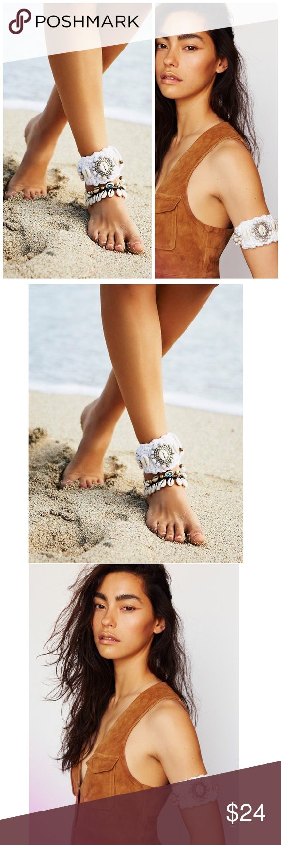 """FREE PEOPLE WHITE SANDS CROCHET ARMBAND ANKLET NEW FREE PEOPLE White Sands Crochet Shell Armband/Anklet. $30 retail price new without tag. DETAILS: Nothing says day at the beach like this convertible macrame piece. Featuring shell detailing and metal and wooden accents, wear as an armband or anklet. Adjustable tie closure.  Shell Silver Metal Wooden Beads Cotton Import Length: 17.0"""" = 43.18 cm Free People Jewelry Bracelets"""