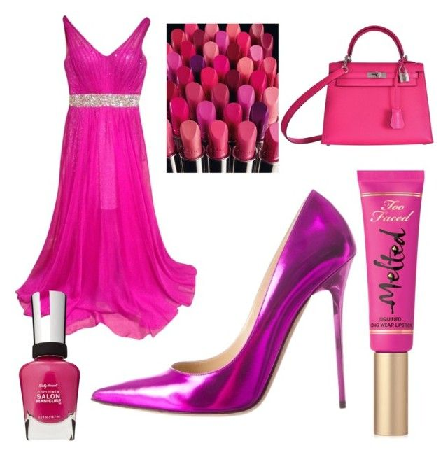 """""""Fuschia Dreaming"""" by tiffany-facebook on Polyvore featuring La Femme, Too Faced Cosmetics, Hermès, Jimmy Choo and Sally Hansen"""