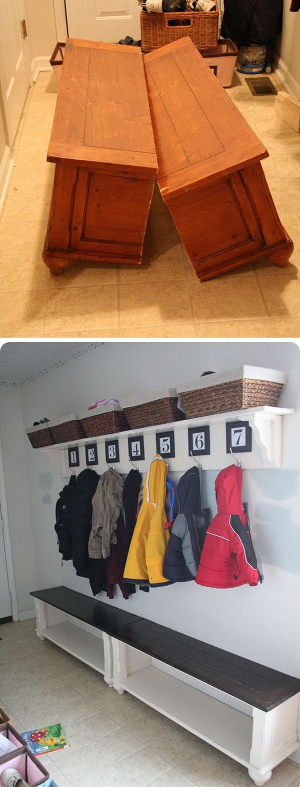 Turn an Old Coffee Table to a Mudroom Bench.                                                                                                                                                                                 More