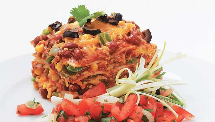 Tortilla Bake using textured vegetable protein #TVP #soyswaps #healthymexican #soyfoodsmonth