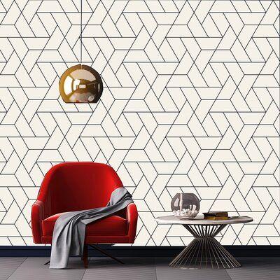 Wrought Studio Leiter Modern Geometrical Design 10′ L x 24″ W Peel and Stick Wallpaper Roll