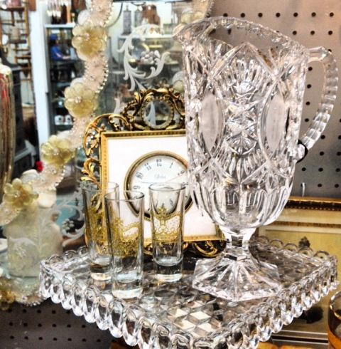 Beautiful German crystal footed water pitcher.