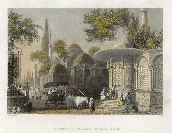 Turkey, Constantinople, Fountain & Mosque of Chahzade, 1838