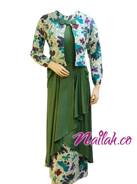 Baju Muslim Cantik ~Gamis Pesta Batik Hijau~
