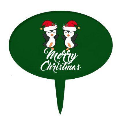 Merry Christmas Penguin Cake Topper - merry christmas diy xmas present gift idea family holidays