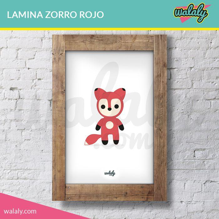 """Lámina imprimible con ilustración """"Wally el Zorro Rojo"""" . Descarga, imprime, enmarca y decora tu casa con un toque original y divertido."""