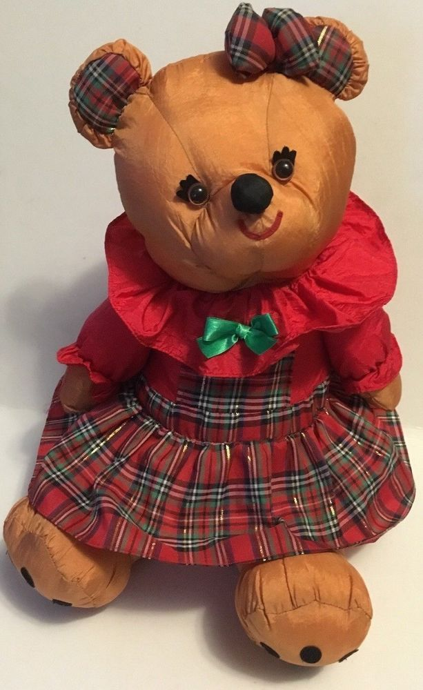"Christmas International Silver GIRL BEAR Plush 12""  Nylon Puffalump Style #InternationalSilverChristmas"