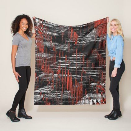 Red and Black Hash Tags Fleece Blanket - shower gifts diy customize creative