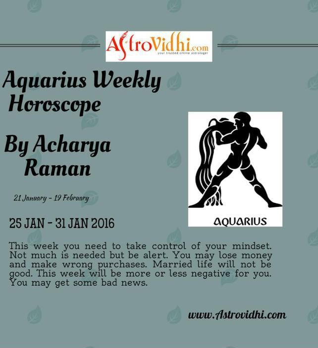 Check your Aquarius weekly Horoscope ( from 25 Jan to 31 Jan 2016 ) and plan your full week accordingly.