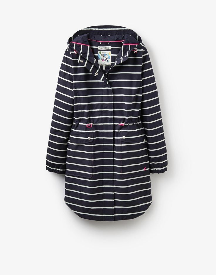 Raina printed Navy Stripe Waterproof Coat  | Joules US