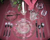 Proper Table Setting - How to Set a Formal Table - Setting the Table-Top Row From Left to Right Bread plate with butter knife (top left of dinner plate)   Coffee cup (top right of dinner plate)  Water glass, Wine glass,Liqueur glass