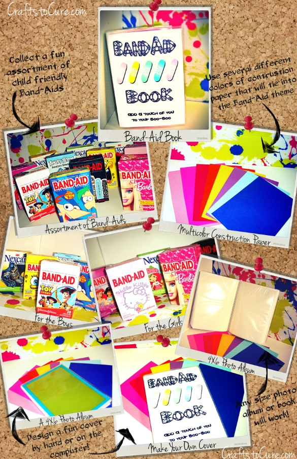 Child Life Activity: Band-Aid Book! A great distraction item but also easy to make! Visit me at CraftstoCure. com for more!! :)