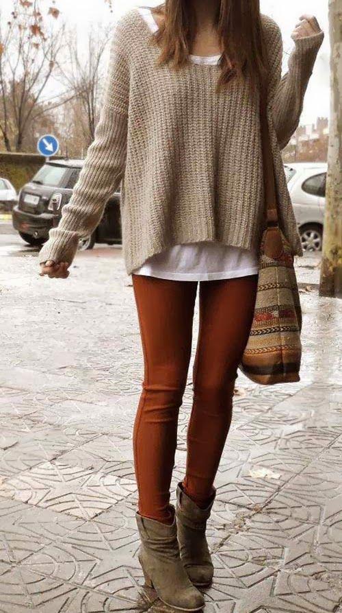 Amazing Cardigan, Orange Pants with High Heel Shoes and Suitable Handbag
