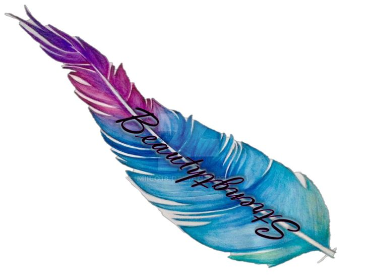 Beauty and strength tattoo design on watercolor feather
