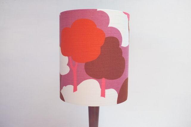 Original Retro Fabric Lampshade, 70's, 20cm, Extra Tall Drum, Pink, Red, White