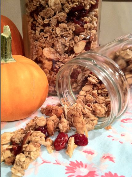 1 c. water    1 c. brown sugar    1 Tbs. butter    1 Tbs. honey    2 tsp. vanilla extract    4 c. oats    1 c. nuts    1/2 c. pumpkin seeds    1/4 c. coconut flakes    1/4 c. sunflower seeds    2 tsp. cinnamon    1 tsp. nutmeg    1 tsp. ground ginger    1 c. dried fruit  Method:    First, make a simple syrup from the water and brown sugar: In a small sauce pan, heat 1 c. water, add 1 c. sugar and stir until dissolved. Bring to a rolling boil for 1 minute, and then remove from heat. Set aside…