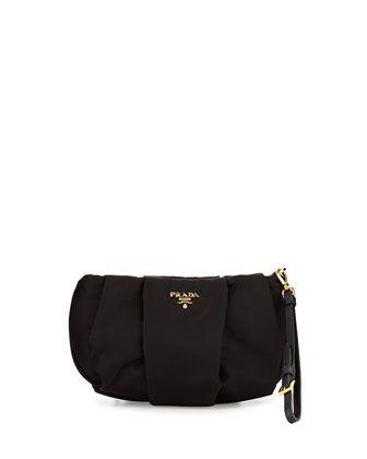 Prada Tessuto Wristlet Bag, Black (Nero)