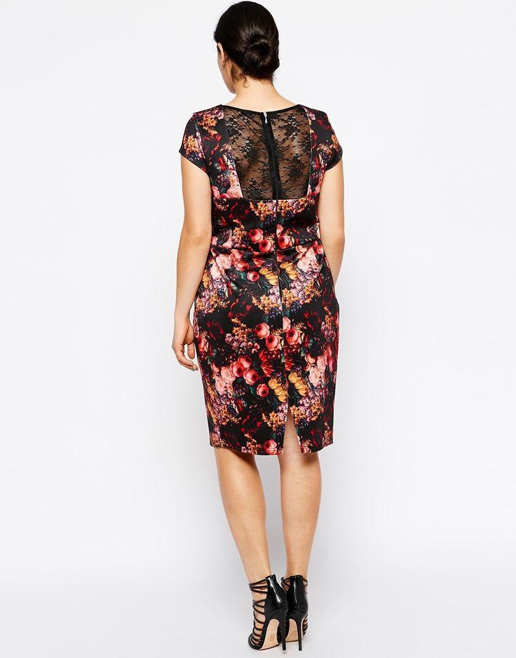 Immagine 2 di Paper Dolls - Vestito longuette taglie comode a fiori scuri con inserto in pizzo