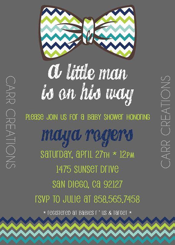 Chevron Bowtie Baby Shower Invitation  by elisiacarrcreations