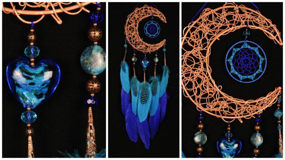 Blue Dream Catcher Moon Dreamcatcher Copper dreamcatcher agate dreamcatchers wall decor agate handmade gift idea present birthday blue heart This amulet like Dreamcatcher - is not just a decoration of the interior. It is a powerful amulet, which is endowed with many properties: - Dreamcatcher protects and ensures a healthy sleep to the owner; Dreams - Catchers helps in practice lucid dreaming. It helps to recognize dreams himself in a dream, as well as protects from negative influences;