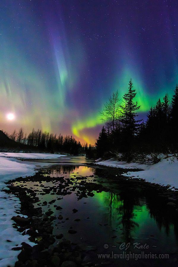 Aurora Moonset by CJ Kale  #photography #aurora #moon #alaska #longexposure #nature #landscape #nightphotography