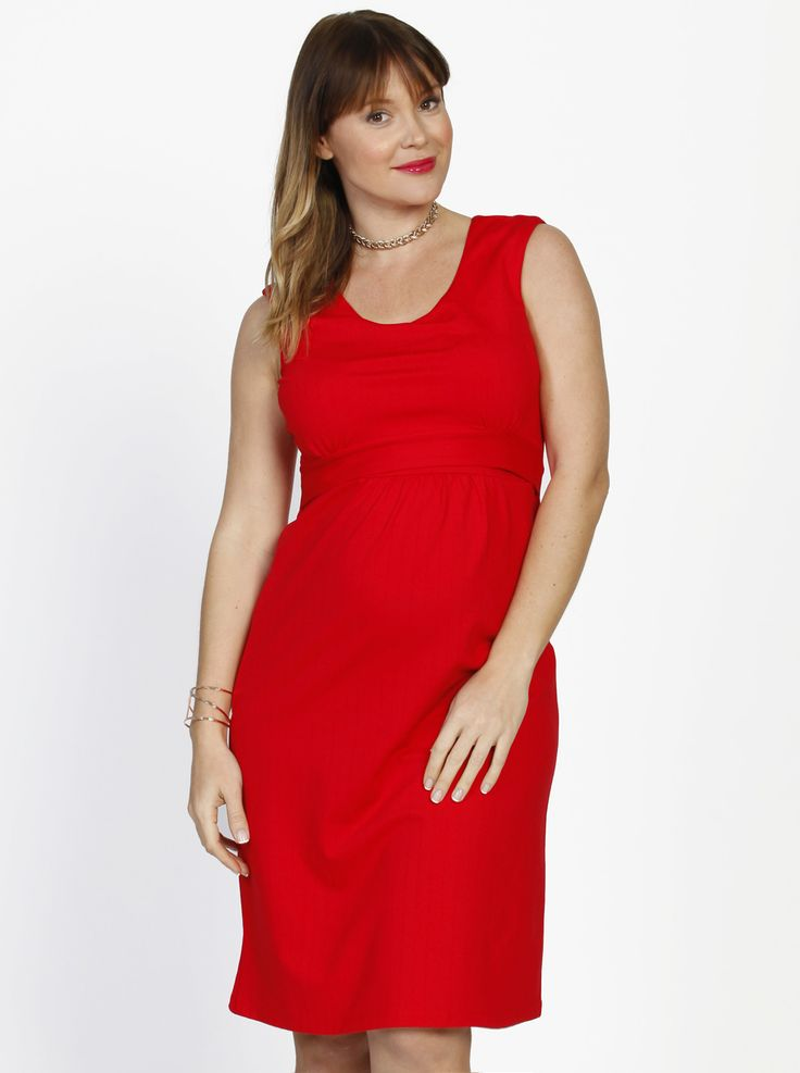 """Channel your inner Kelly LeBrock from The Woman in Red with our """"Busy Mummy"""" Sleeveless Nursing Dress - Red, $59.95."""
