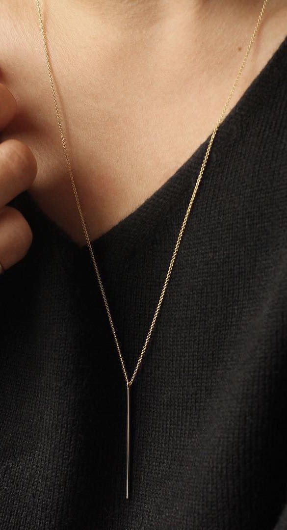 The Vertical Bar Necklace, perfect for those in between spots. | @andwhatelse
