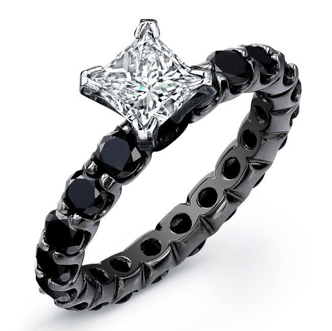 """""""Phantom"""" Ring ♛: Idea, Black Diamonds Rings, Diamond Rings, Black Diamond Engagement, Style, Jewelry, Princesses Cut, Engagement Rings Sets, Princess Cut"""