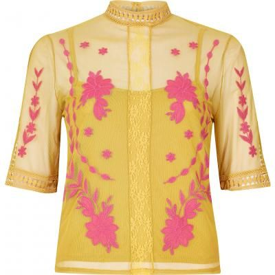 Yellow embroidered top xx