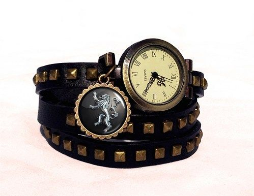 Game of Thrones Lannister Crest Watch,Steampunk Studded Ladies Watch