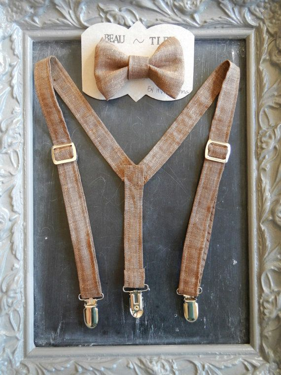 Adult Mens Suspenders Bow Tie set Brown Linen by bearandfoxdesigns
