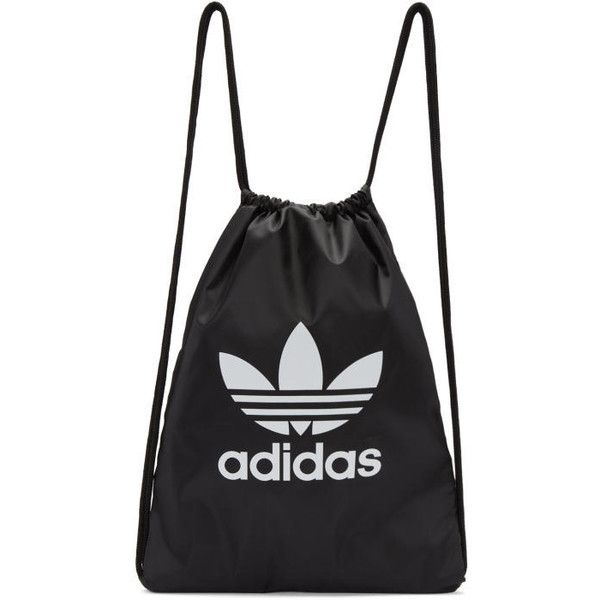 b55703ec5596a0 adidas Originals Black Trefoil Gym Backpack ($20) ❤ liked on Polyvore  featuring bags, backpacks, accessories, black, logo bags, backpack bags, ...