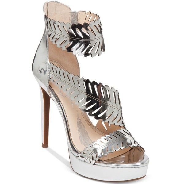 Jessica Simpson Azure Platform Dress Sandals ($119) ❤ liked on Polyvore featuring shoes, sandals, liquid silver, silver platform shoes, feather shoes, jessica simpson footwear, dress sandals shoes and stretch shoes