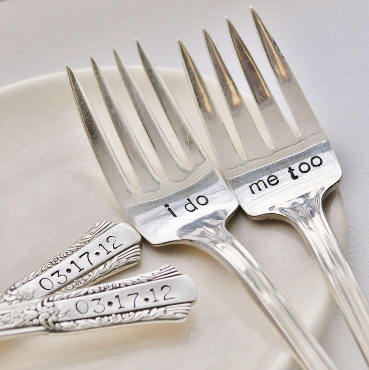 I do & Me Too Vintage Wedding Cake Forks (Matching Set)