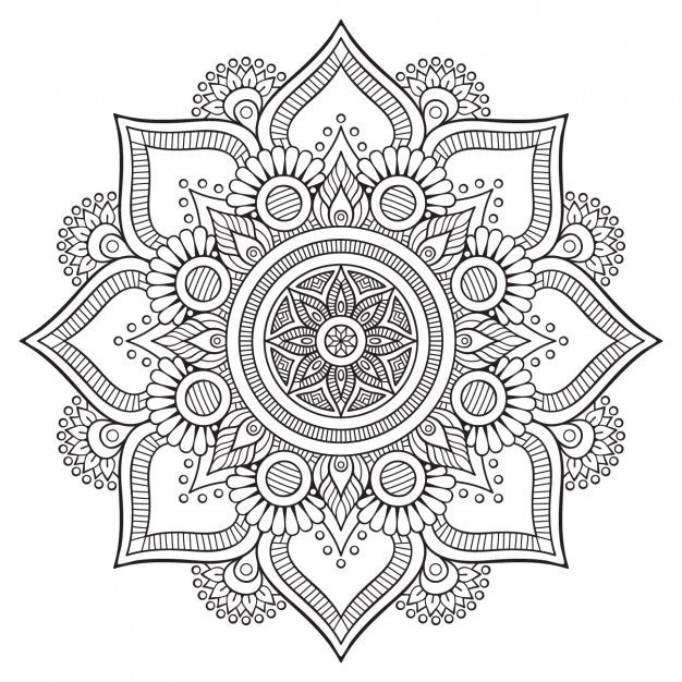 "Printable mandala to color, free for personal use by Visnezh at FreePic. Click the green button ""Baixar Gratuito"", then ""Download Gratuito"", then on next page ""Clique aqui"" if the download doesn't start. Jpg and Eps in zip file."