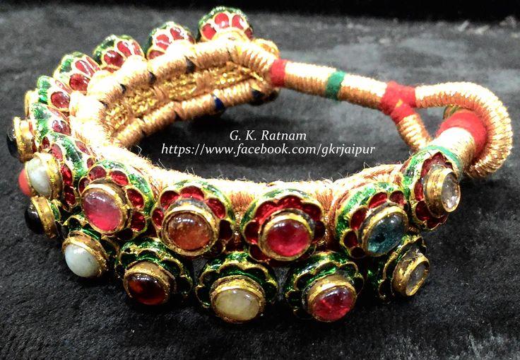 Navratan ponchi with flower pattern | Bangles | Bracelets | Kundan Meena Jewelry | Bridal Jewelry | Traditional Indian Jewelry | Wedding Jewelry