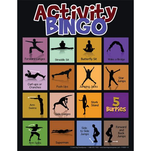 PreK & up. Get the whole class involved with this physical activity bingo. To play, the teacher reads an instruction card that contains an activity. The whole class does the activity, and those who have the activity on their bingo card cover the square with a marking chip. Play until someone has a bingo!