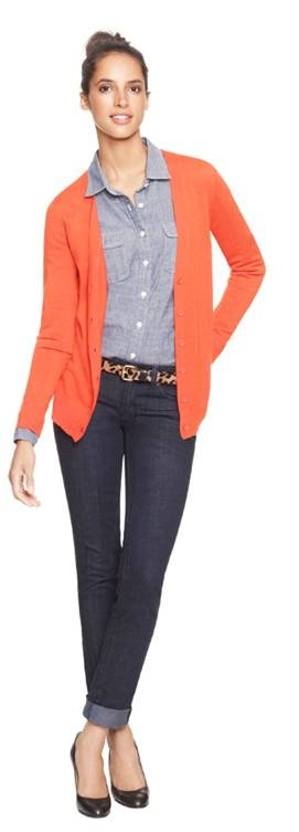 Orange cardigan, chambray shirt, jeans