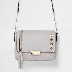 Grey tassel cross body bag