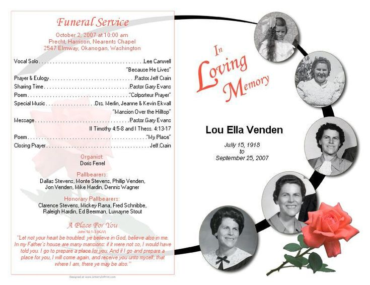 Best Funeral Template Images On   Program Template