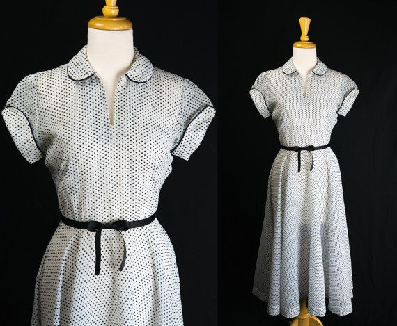 Vintage 1950's Polka-dot Lucy Dress White and Navy by madvintage