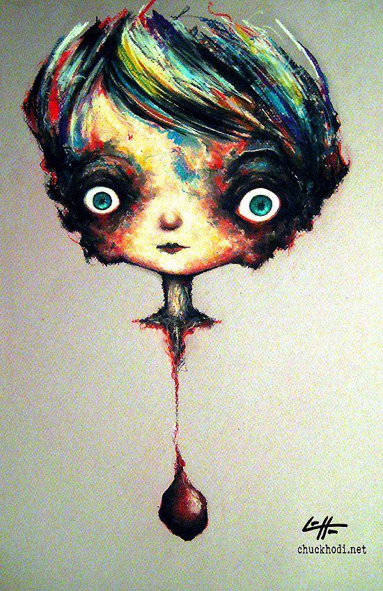 "Print 11x17"" - Hanging by a thread 2 - Heart Cute Creepy Love Sad Lowbrow Fantasy Lolita Red Dark Art Horror Gothic Pop Valentine"