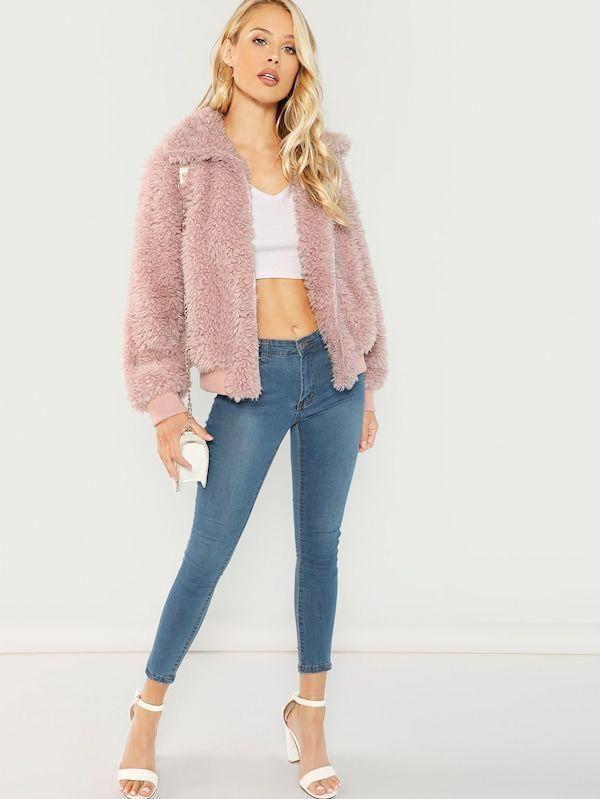 e4f0a06408 Solid Faux Fur Teddy Jacket -SheIn(Sheinside) #coat and jacket #coat ...