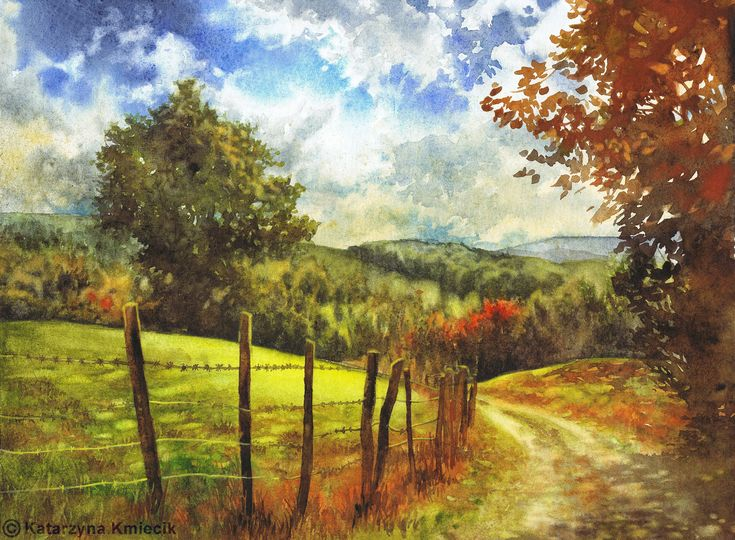 """Watercolor painting of an autumn landscape titled """"Country Road"""" by Katarzyna Kmiecik. Inviting and colorful nature art depicting a rural landscape with a shadowed road and the warm autumn trees that surround it.  #rural #landscape #watercolor #painting #buyart #originalart #etsy #watercolorpainting #autumn #autumnlandscape #country #road #trees #watercolorart"""