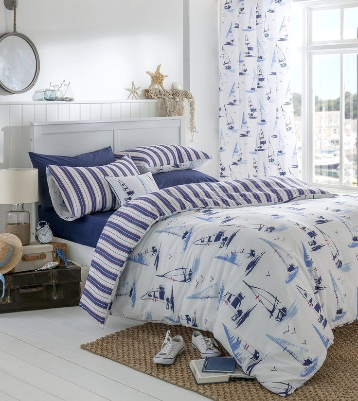 Nautical-Boats-Duvet-Cover-Bedding-Sets-Or-Eyelet-Curtains-Or-Cushion-Blue-White