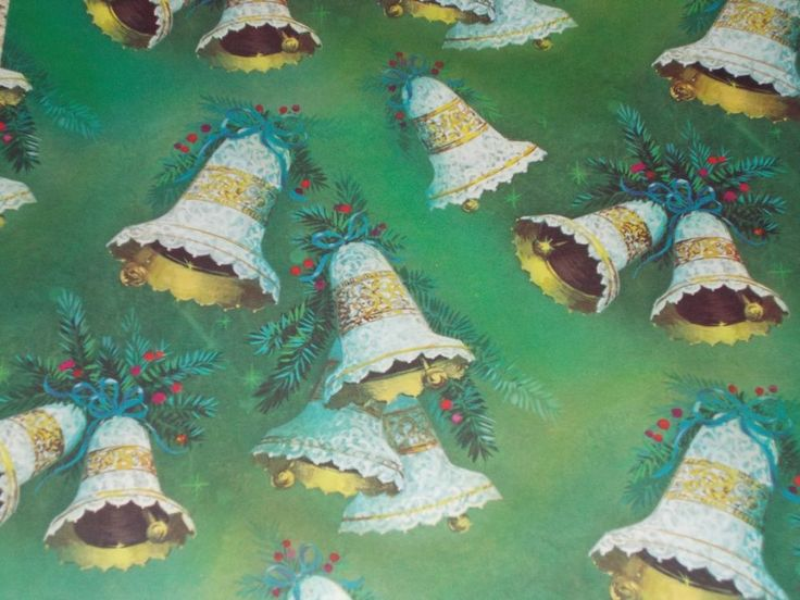 VTG CHRISTMAS WRAPPING PAPER GIFT WRAP MCM NOS BELLS ON GREEN NORCROSS + TAG    eBay
